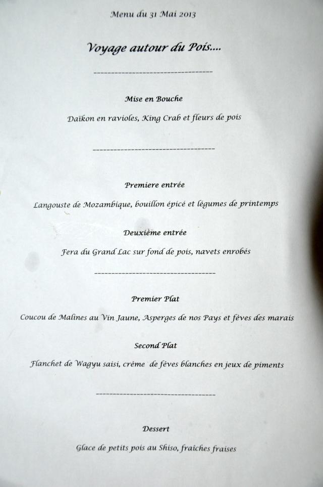 menu du soir....